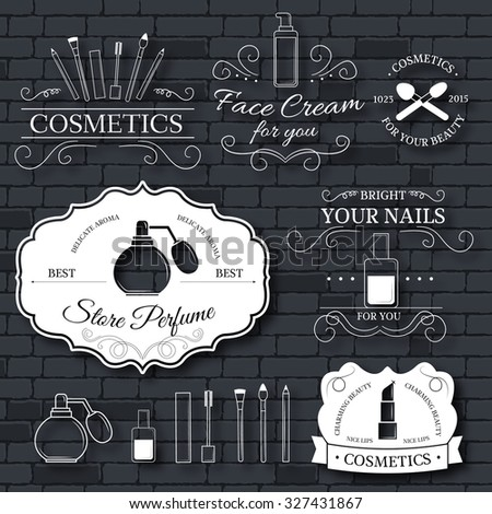 cosmetics set label template of emblem element for your product or design, web and mobile applications with text. Vector illustration with thin lines isolated icons on stamp symbol - stock vector