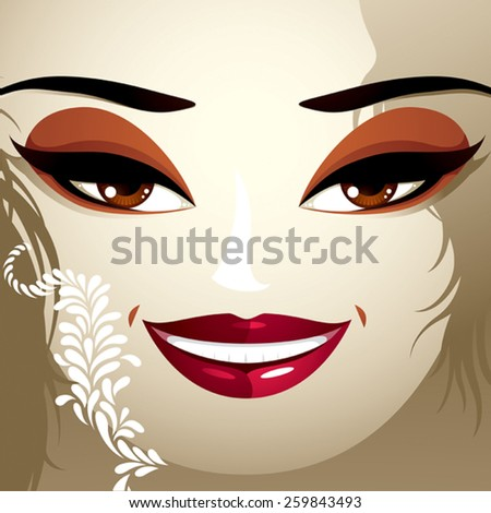 Cosmetology theme image. Young pretty lady with fashionable haircut. Human eyes, lips and eyebrows reflecting a facial expression, happiness. - stock vector