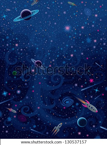 Cosmic Bright Background - stock vector