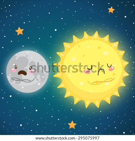 Cosmic friendship: sad Moon and Sun, vector. - stock vector