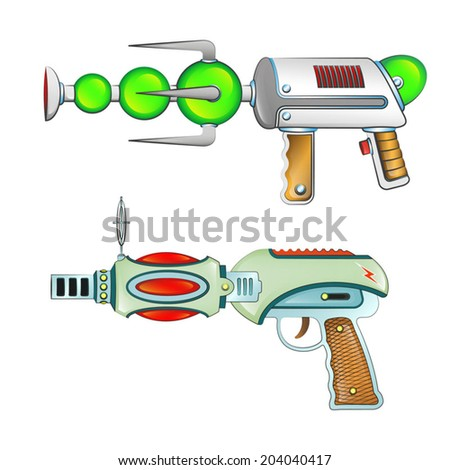 Cosmic ray guns or blasters aliens and colorful vector. Plasma guns aliens. - stock vector