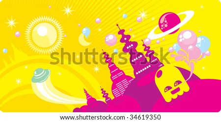 Cosmic town - stock vector