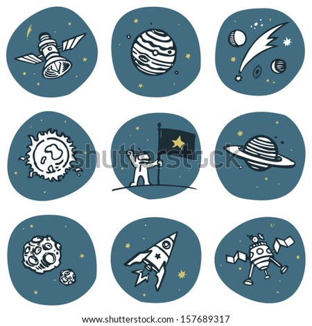 Cosmonaut and space objects icon set. Vector image set, 3 colors. - stock vector