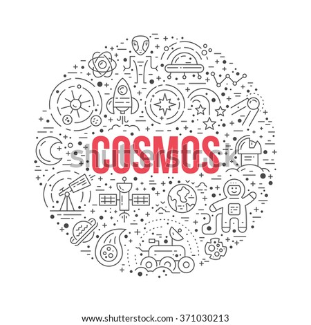 Cosmos clipart element - a lot of different space and universe elements arranged in a circle with cosmos sign. Vector line art for book cover, t-shirt, flyer or banner, - stock vector