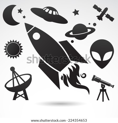 Cosmos - icon collection. VECTOR art. - stock vector