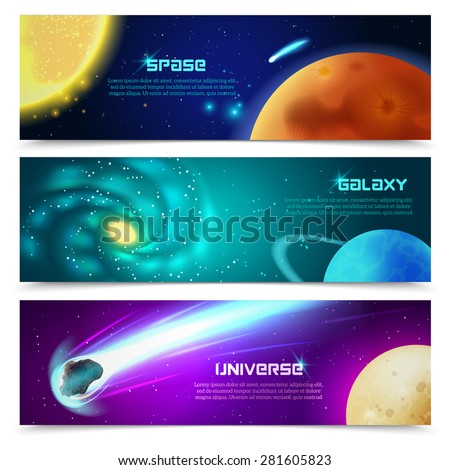Cosmos space galaxy astronomical educational three horizontal banners set with sun and comets abstract isolated vector illustration - stock vector