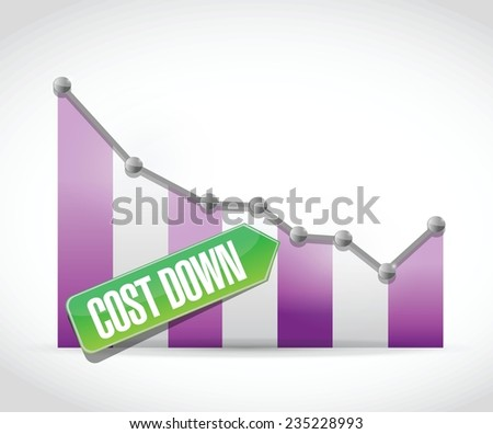 cost down business graph illustration design over a white background - stock vector