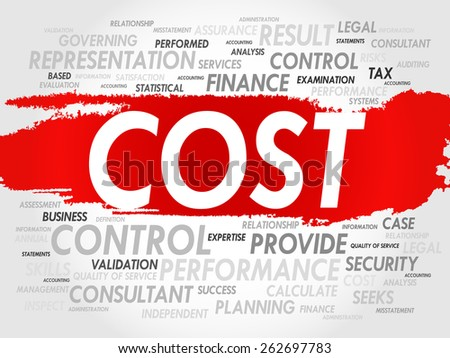 COST word cloud, business concept - stock vector