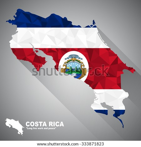 Costa Rica flag overlay on Costa Rica map with polygonal and long tail shadow style (EPS10 art vector) - stock vector