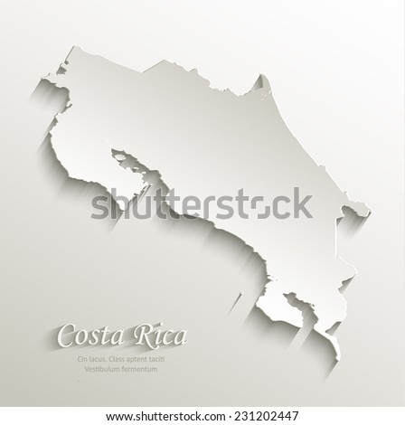Costa Rica map card paper 3D natural vector - stock vector