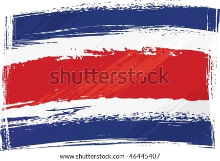 Costarica national flag created in grunge style - stock vector