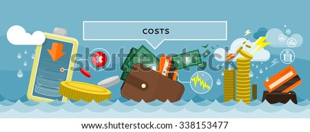 Costs concept design style flat. Price expensive, fees and cut costs, savings budget, business finance, investment and bank, wealth financial, exchange cash illustration - stock vector