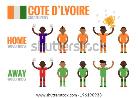 Cote D'Ivoire soccer team flat design, vector. - stock vector