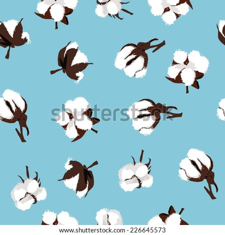 Cotton bolls cyan seamless vector pattern, EPS10 file - stock vector