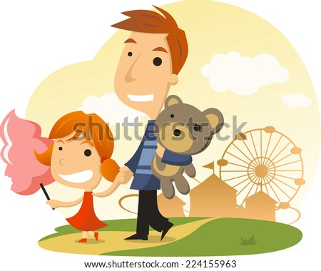 Cotton candy Amusement Park Family Day - stock vector