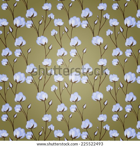 cotton flowers repeating pattern - stock vector