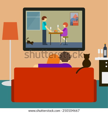 Couch. Couple on couch. Romantic movie. Love and romantic. Flat style interior. Couple, cat watching romantic movie on television sitting on couch in room. Couple, tv, movie, love, romantic. Couch, tv - stock vector