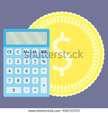 Count money on calculator. Money and money counting machine, counting and money counter, counting coins and calculator, financial calculate and saving budget. Vector flat design illustration - stock vector