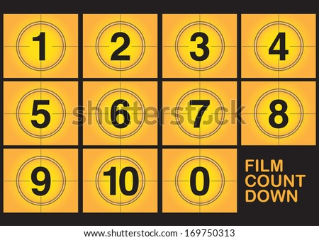 Countdown on film screen on yellow background. Vector illustration. - stock vector