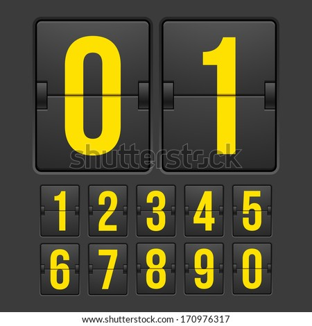 Countdown timer, white color mechanical scoreboard with different numbers - stock vector