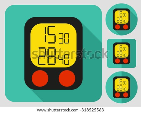 Counter icon. Bike accessories. Flat long shadow design. Bicycle icons series. - stock vector