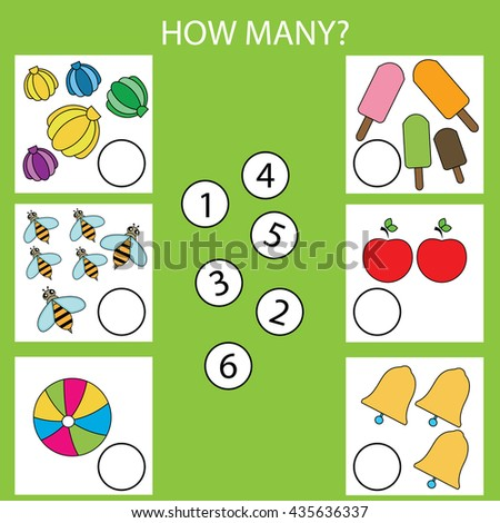 Counting educational children game. How many objects task. Learning mathematics, numbers - stock vector