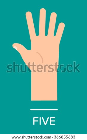 Counting fingers - number five. Hand showing five fingers, high five sign. Communication gestures concept. Vector illustration isolated on colorful background with text flat design. - stock vector