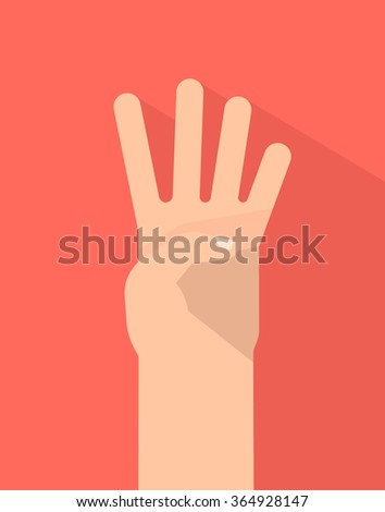 Counting fingers - number four. Hand showing four fingers. Communication gestures concept. Vector illustration isolated on colorful background with shadow flat design. - stock vector
