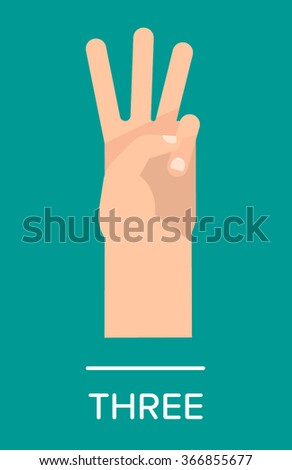 Counting fingers - number three. Hand showing three fingers. Communication gestures concept. Vector illustration isolated on colorful background with text flat design. - stock vector