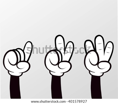 Counting 1-2-3 Fingers on Hand  - stock vector