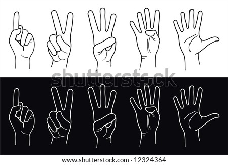 Counting Hands from one to five. Vector - stock vector