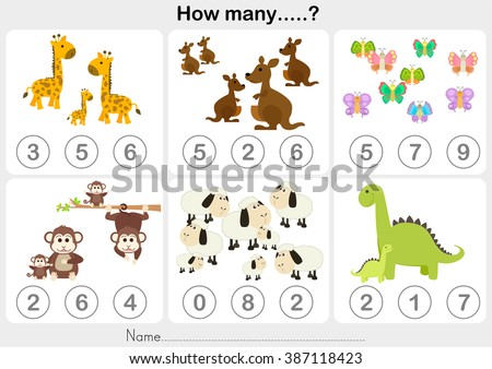 Counting object for kids - Education worksheet - stock vector