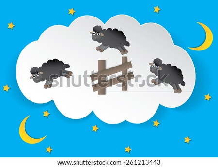 Counting sheep concept as a symbol of insomnia and lack of sleep due to challenges in falling asleep as a group of animals jumping over a fence in a dream bubble for bedtime in sleepy children. - stock vector