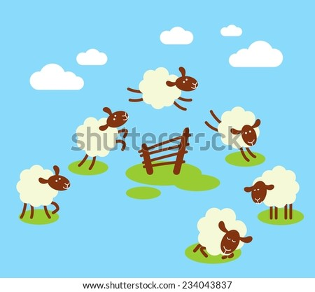 Counting sheep to sleep concept. Battling insomnia concept with white sheeps jumping over fence - stock vector