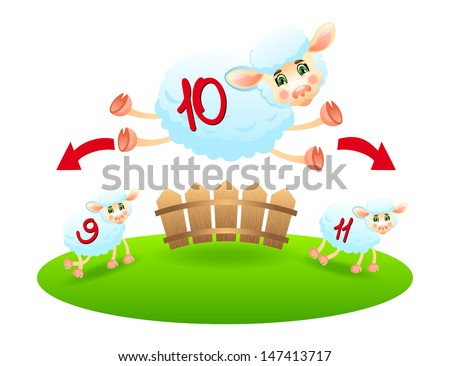Counting sheep- vector. - stock vector