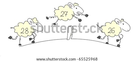Counting sheep 1 - vector. - stock vector