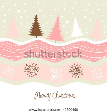 Country Christmas Card - stock vector