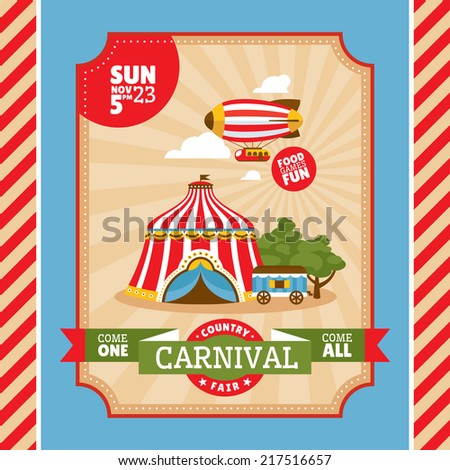 Country fair vintage invitation card vector illustration - stock vector
