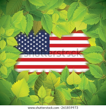 Country flag covered with dense, green leaves - stock vector