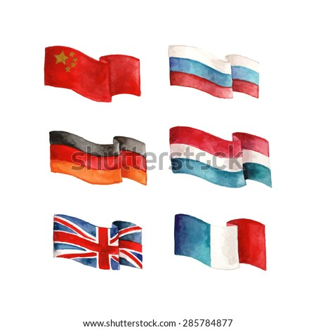 Country flags set: China, Russia, Germany, Netherlands, Great Britain and France. Hand drawn vector illustration.  - stock vector