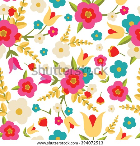 Country Flowers Seamless Pattern - stock vector