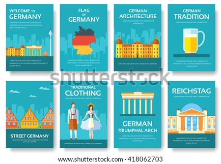 Country Germany. Travel Germany. Germany icon. Germany vacation. Germany places. Germany set. Germany people. Germany culture. Germany flat. Germany jpg. Germany eps. Germany pic. Germany Magazines - stock vector