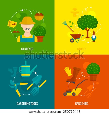 Country hobby gardener tools and accessories  4 flat icons of lawn mower composition abstract isolated vector illustration - stock vector