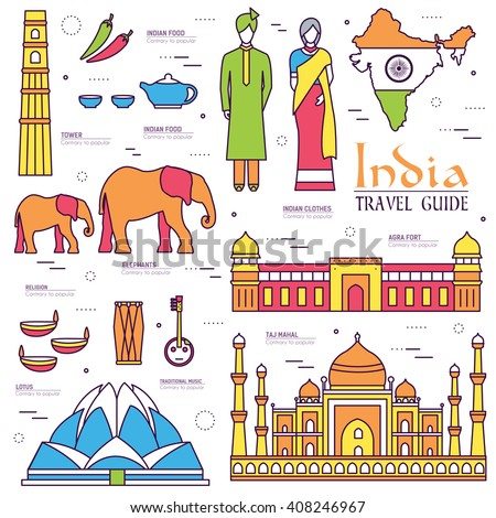 Country India . Travel to India . Vacation on India. India places. India icon. India set. India thin line. India outline. India eps. India  jpg. India pic. India Infographic. India items. India art - stock vector