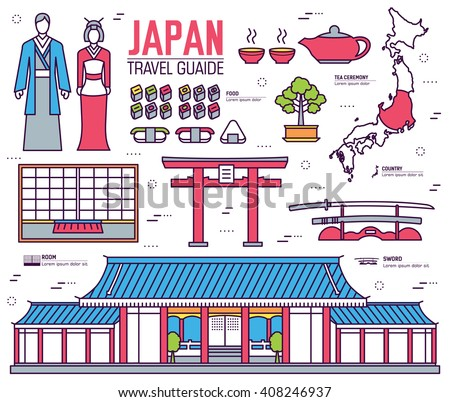 Country Japan. Travel to Japan. Vacation on Japan. Japan places. Japan icon. Japan set. Japan thin line. Japan outline. Japan eps. Japan jpg. Japan pic. Japan Infographic. Japan items. Japan tour - stock vector