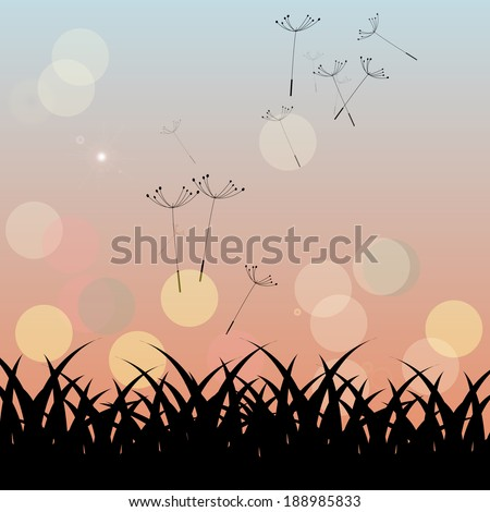 country landscape with silhouette of dandelion seeds carried by a gentle breeze at sunset - stock vector