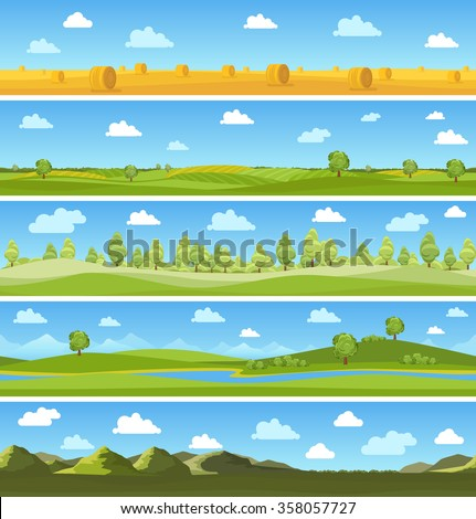 Country landscapes set - stock vector