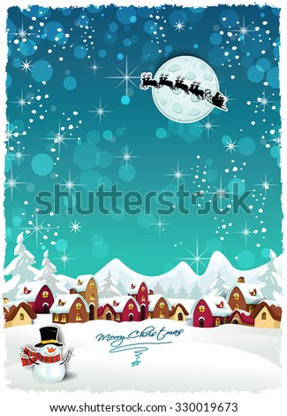 Country rural snowy at Christmas with Santa's sleigh-Transparency blending effects and gradient mesh-EPS 10
