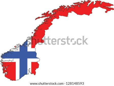 Country shape outlined and filled with the flag of Norway - stock vector