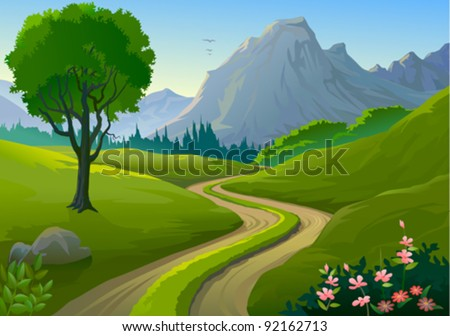 Country side Rocky Hills and Lonely Pathway - stock vector